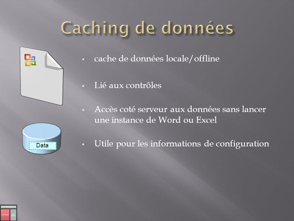 Caching de données cache de données locale/offline Lié aux contrôles