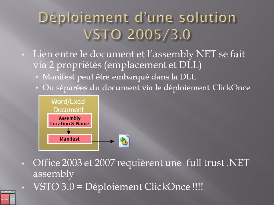 Déploiement d'une solution VSTO 2005/3.0