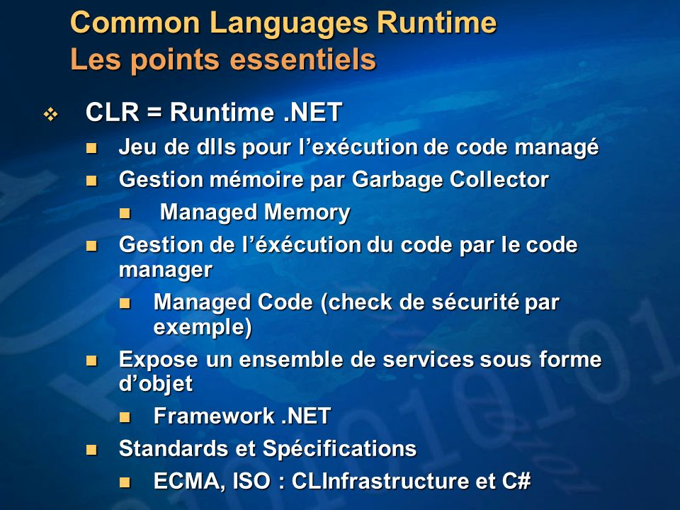 Common Languages Runtime Les points essentiels