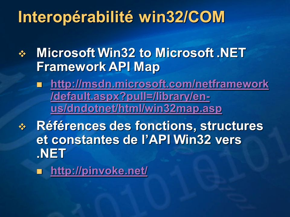 Interopérabilité win32/COM
