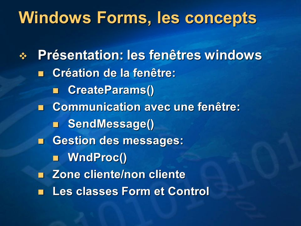 Windows Forms, les concepts