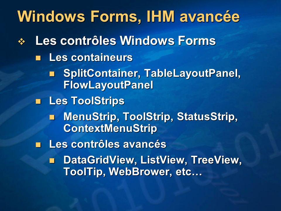 Windows Forms, IHM avancée
