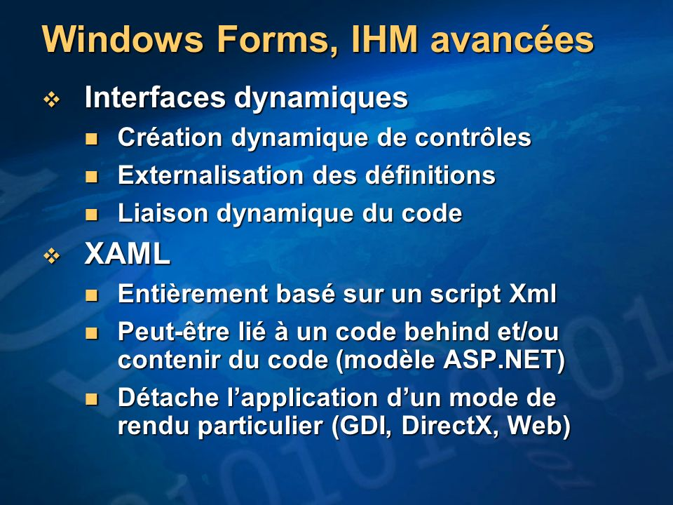 Windows Forms, IHM avancées