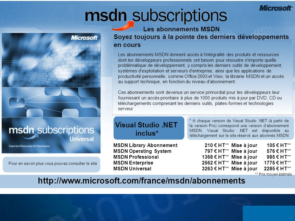 http://www.microsoft.com/france/msdn/abonnements Visual Studio .NET