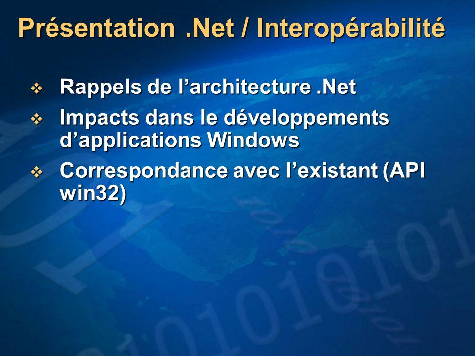 Présentation .Net / Interopérabilité