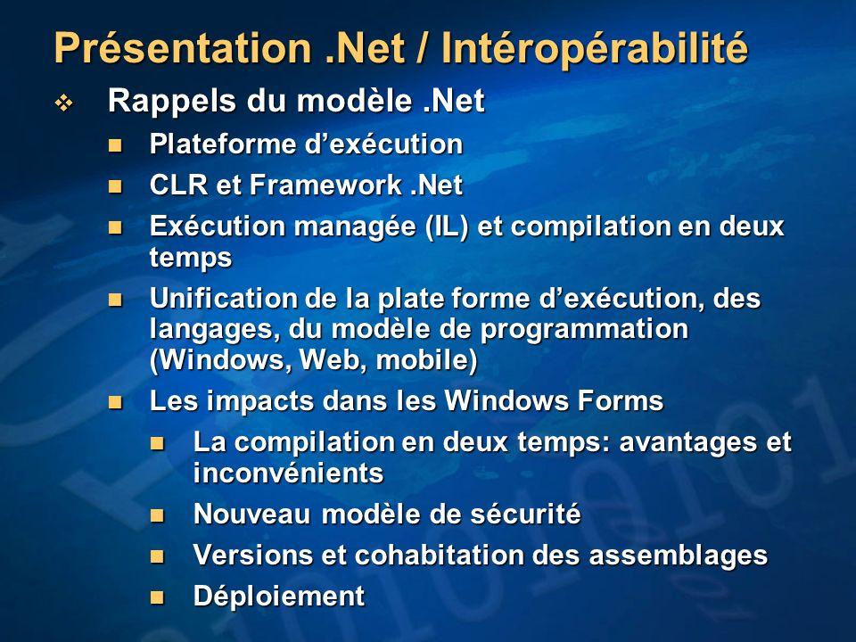 Présentation .Net / Intéropérabilité