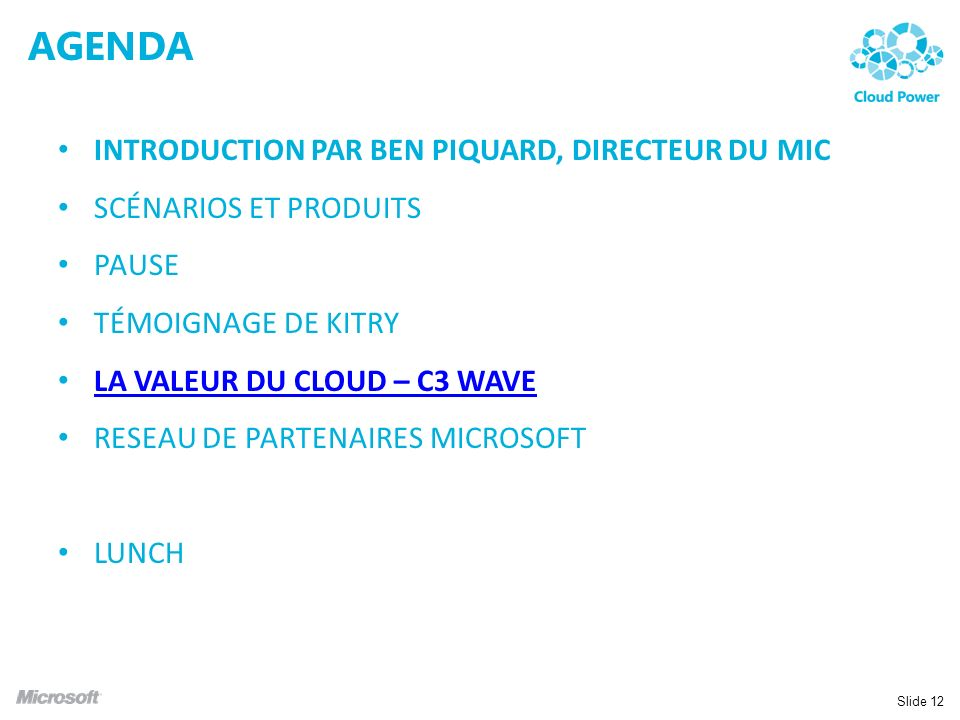 AGENDA Introduction par Ben Piquard, Directeur du MIC