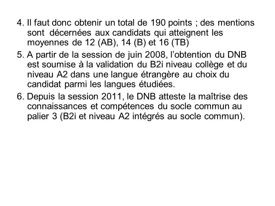 4. Il faut donc obtenir un total de 190 points ; des mentions sont décernées aux candidats qui atteignent les moyennes de 12 (AB), 14 (B) et 16 (TB)