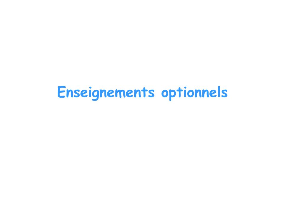 Enseignements optionnels