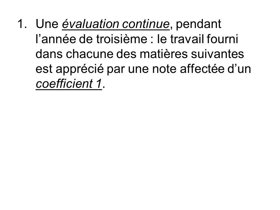 Une évaluation continue, pendant l'année de troisième : le travail fourni dans chacune des matières suivantes est apprécié par une note affectée d'un coefficient 1.