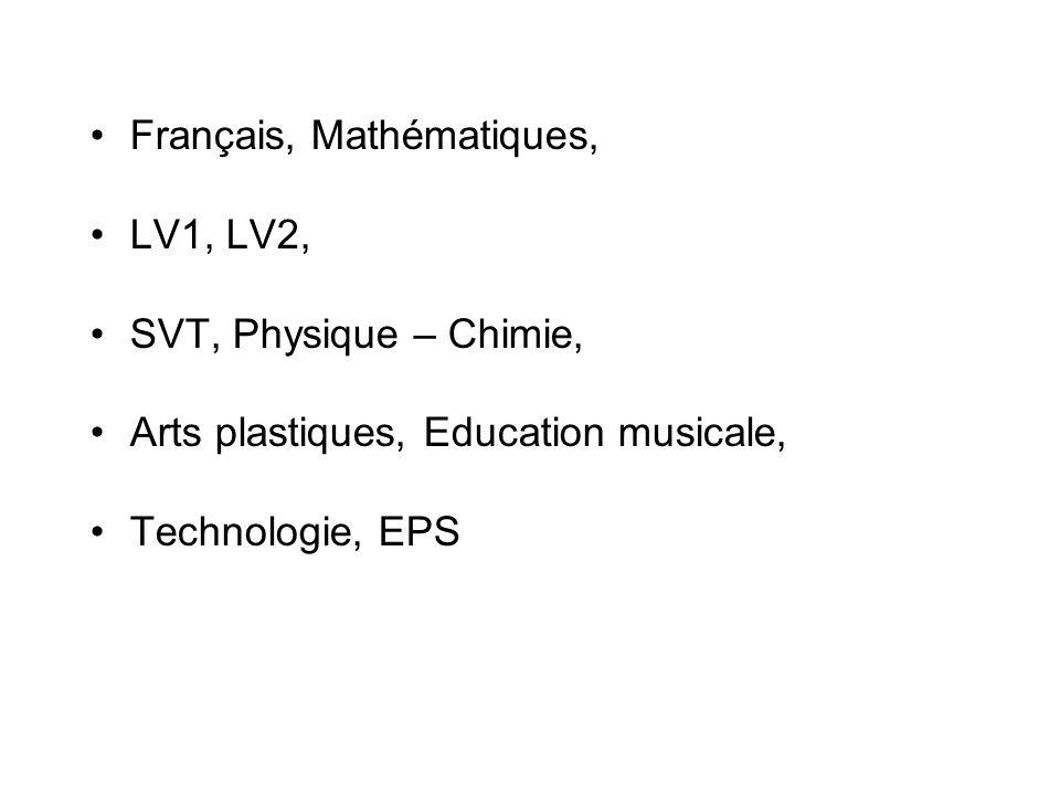Français, Mathématiques,