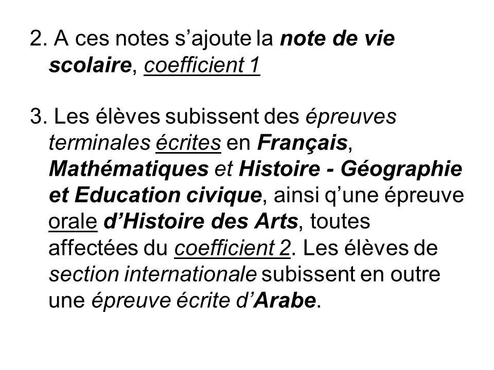 2. A ces notes s'ajoute la note de vie scolaire, coefficient 1