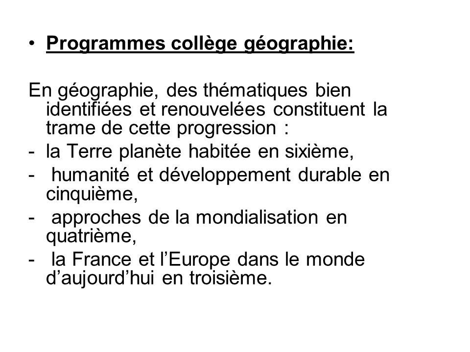 Programmes collège géographie: