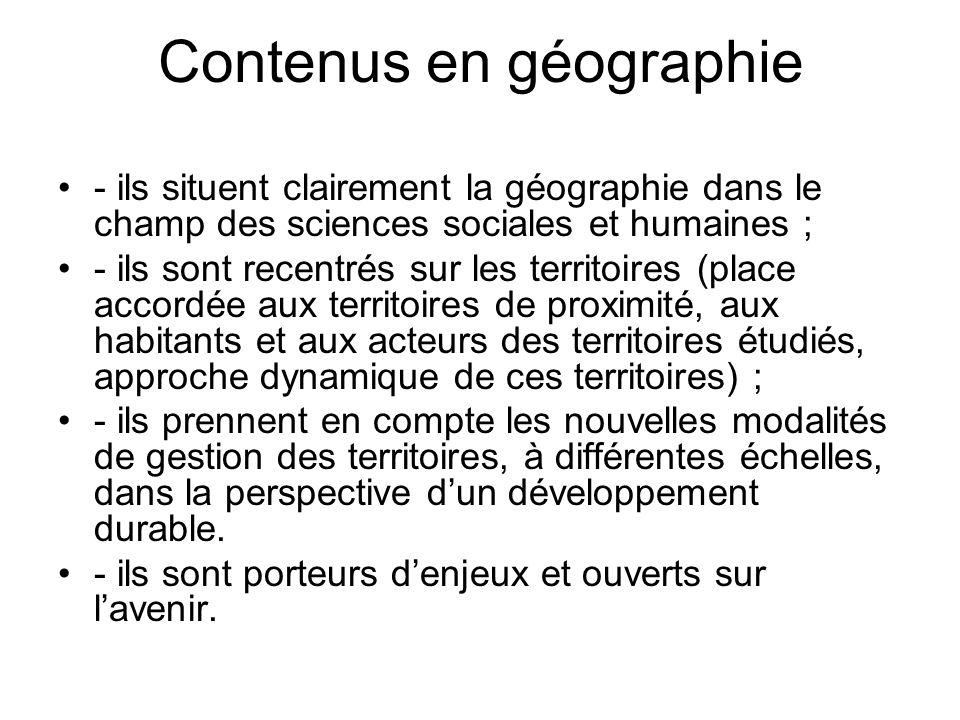 Contenus en géographie