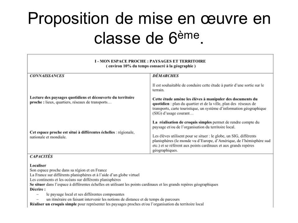 Proposition de mise en œuvre en classe de 6ème.
