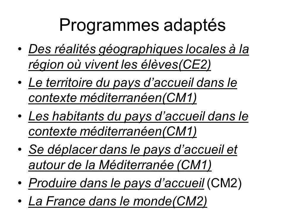 Programmes adaptés Des réalités géographiques locales à la région où vivent les élèves(CE2)