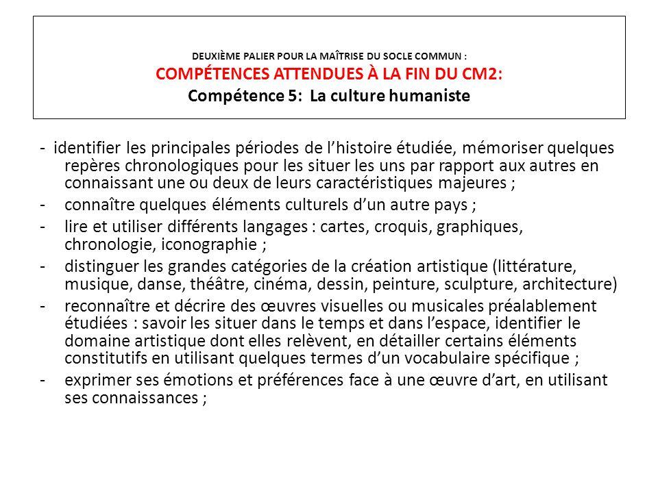 DEUXIÈME PALIER POUR LA MAÎTRISE DU SOCLE COMMUN : COMPÉTENCES ATTENDUES À LA FIN DU CM2: Compétence 5: La culture humaniste