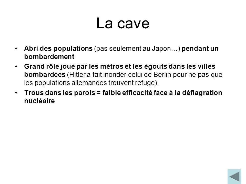 La cave Abri des populations (pas seulement au Japon…) pendant un bombardement.