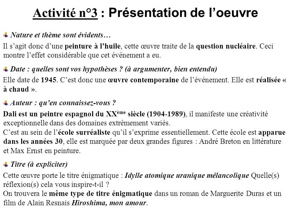 Activité n°3 : Présentation de l'oeuvre