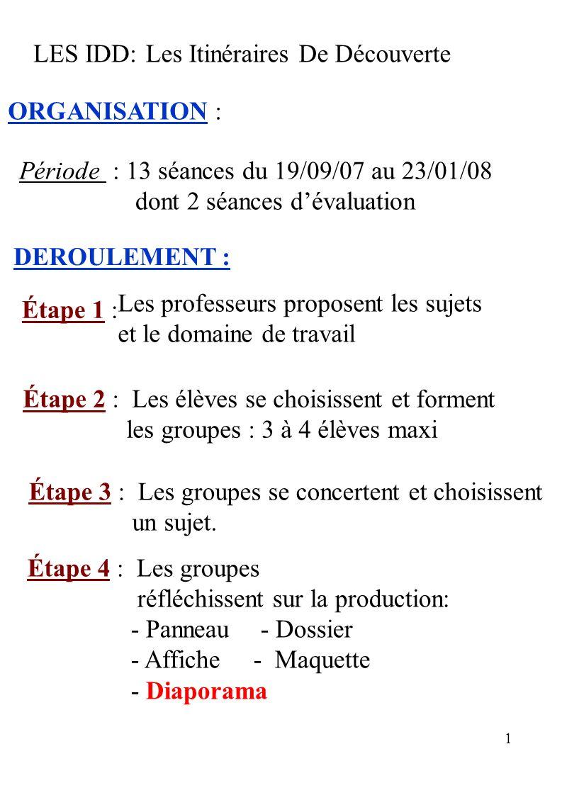 LES IDD: Les Itinéraires De Découverte. ORGANISATION : Période : 13 séances du 19/09/07 au 23/01/08.