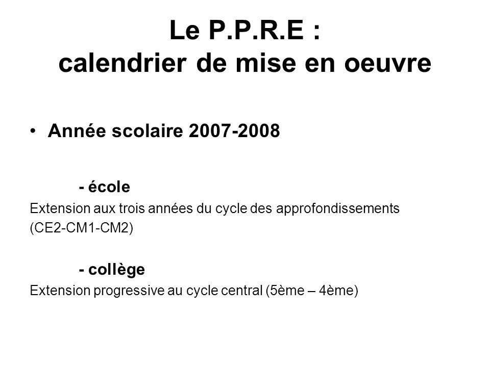 Le P.P.R.E : calendrier de mise en oeuvre
