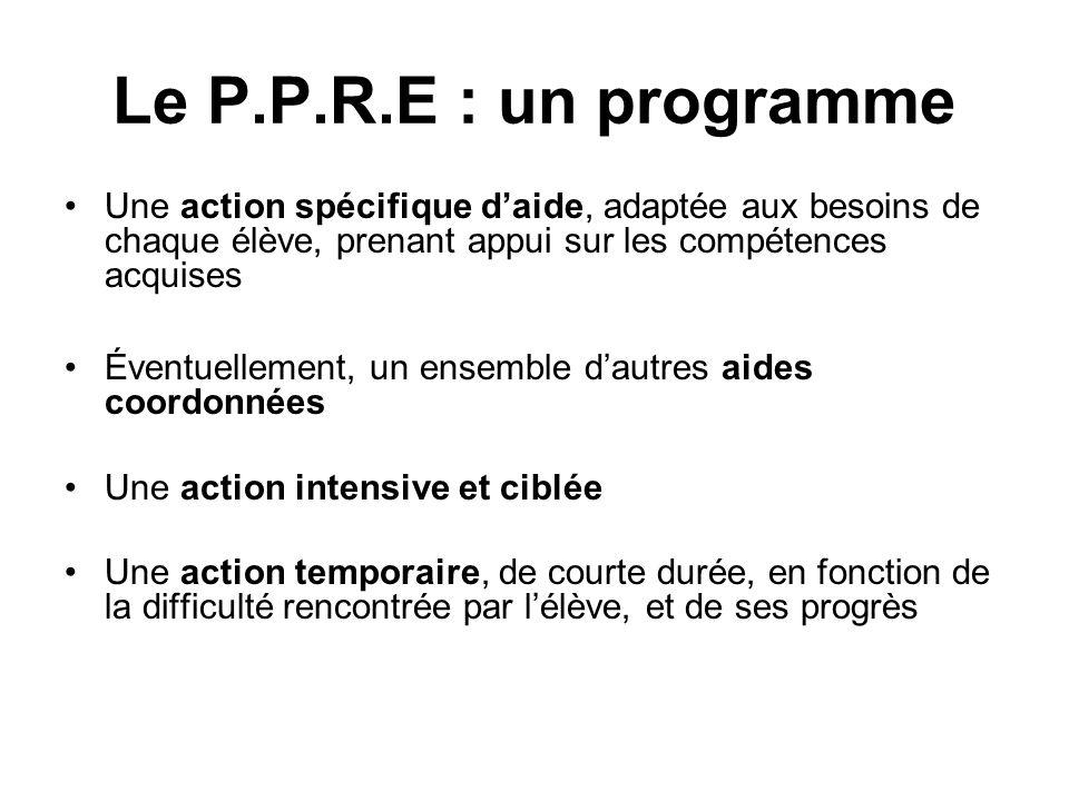 Le P.P.R.E : un programmeUne action spécifique d'aide, adaptée aux besoins de chaque élève, prenant appui sur les compétences acquises.