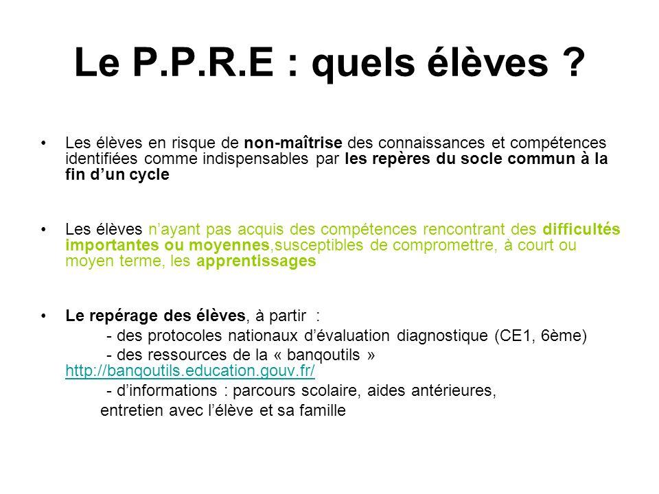 Le P.P.R.E : quels élèves