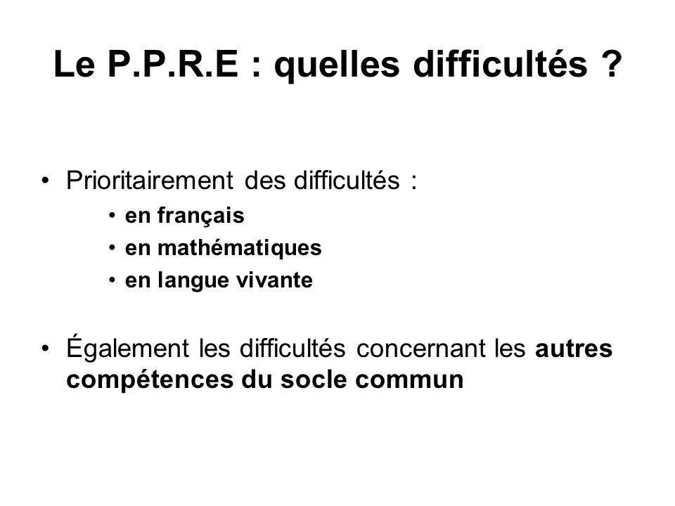 Le P.P.R.E : quelles difficultés