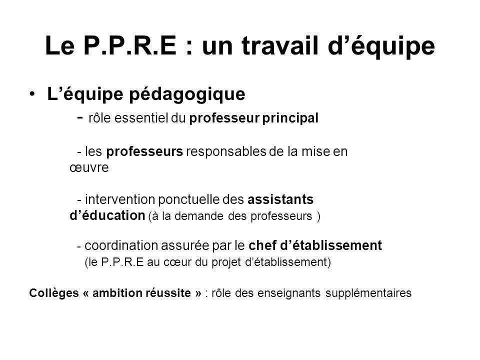 Le P.P.R.E : un travail d'équipe