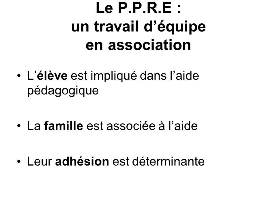 Le P.P.R.E : un travail d'équipe en association
