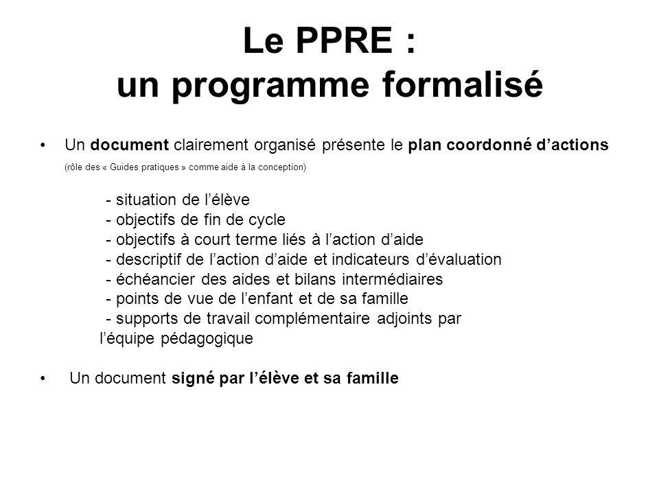 Le PPRE : un programme formalisé