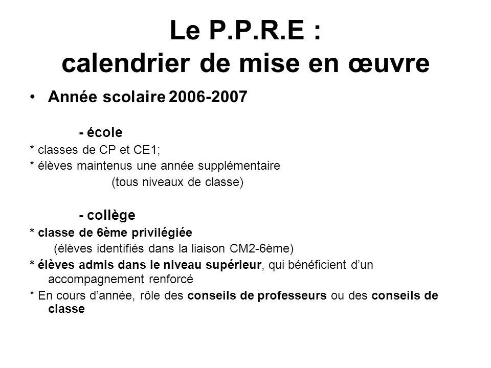 Le P.P.R.E : calendrier de mise en œuvre