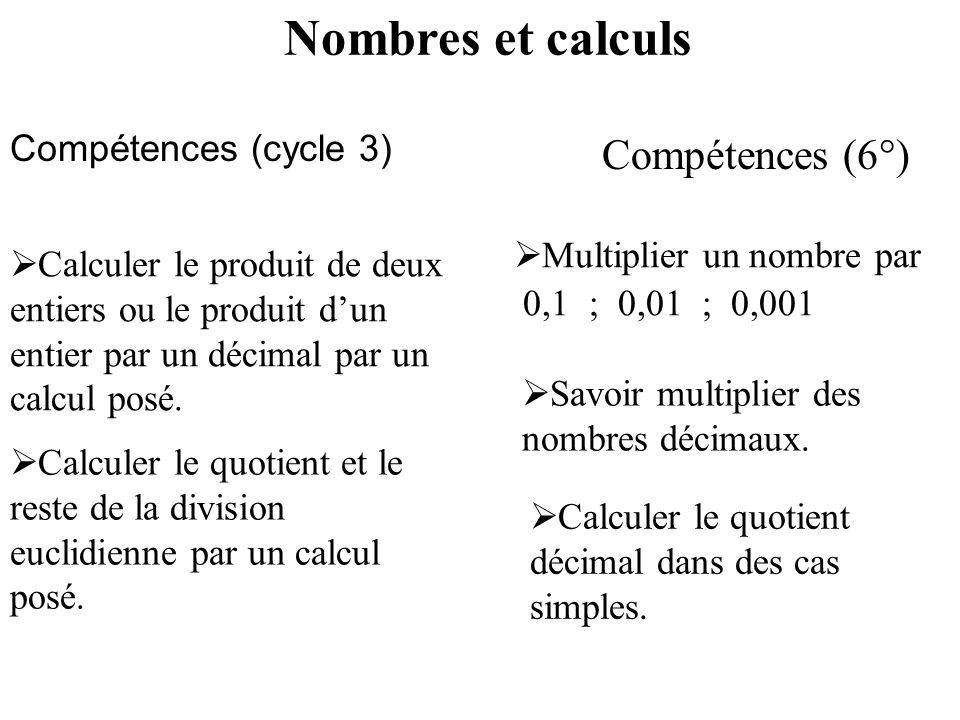 Nombres et calculs Compétences (6°) Compétences (cycle 3)