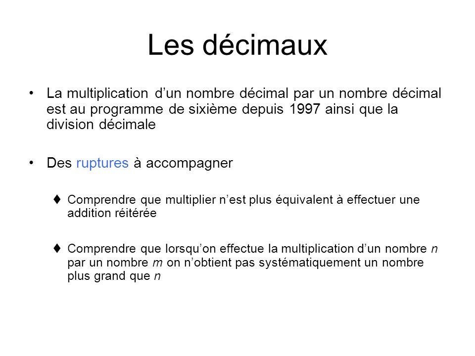 Les décimaux La multiplication d'un nombre décimal par un nombre décimal est au programme de sixième depuis 1997 ainsi que la division décimale.