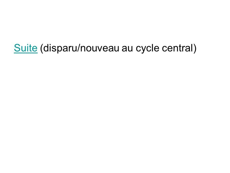 Suite (disparu/nouveau au cycle central)