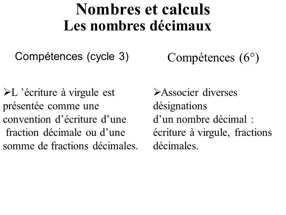 Nombres et calculs Les nombres décimaux Compétences (6°)