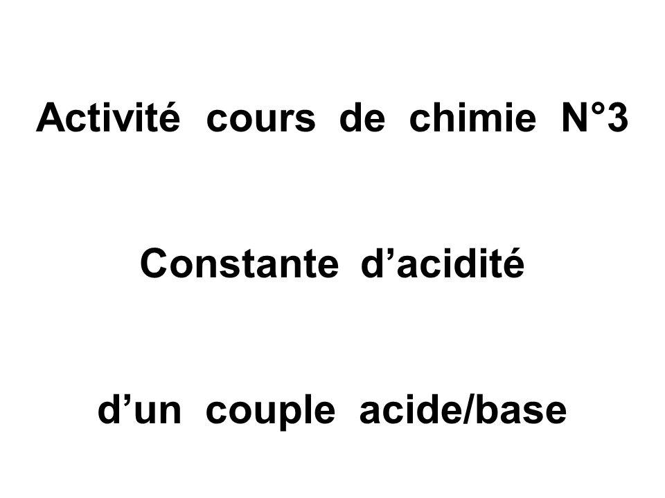 Activité cours de chimie N°3 d'un couple acide/base