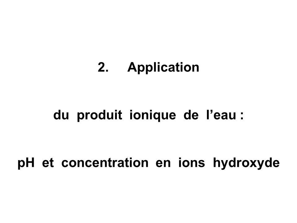 du produit ionique de l'eau : pH et concentration en ions hydroxyde
