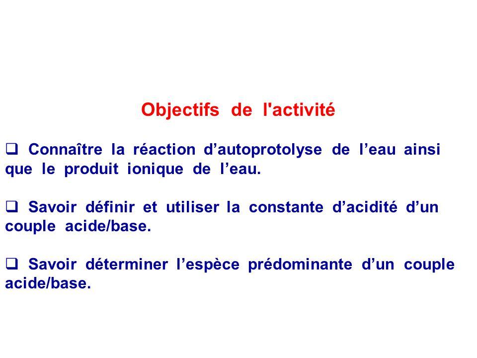 Objectifs de l activité
