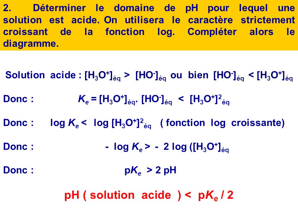 pH ( solution acide ) < pKe / 2