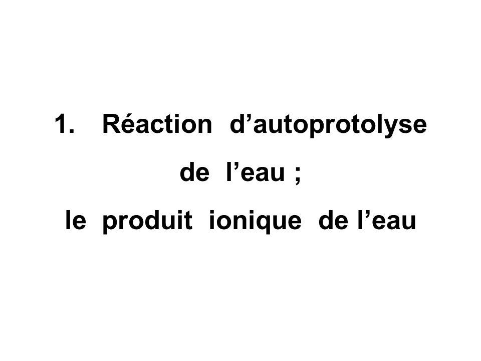 1. Réaction d'autoprotolyse le produit ionique de l'eau
