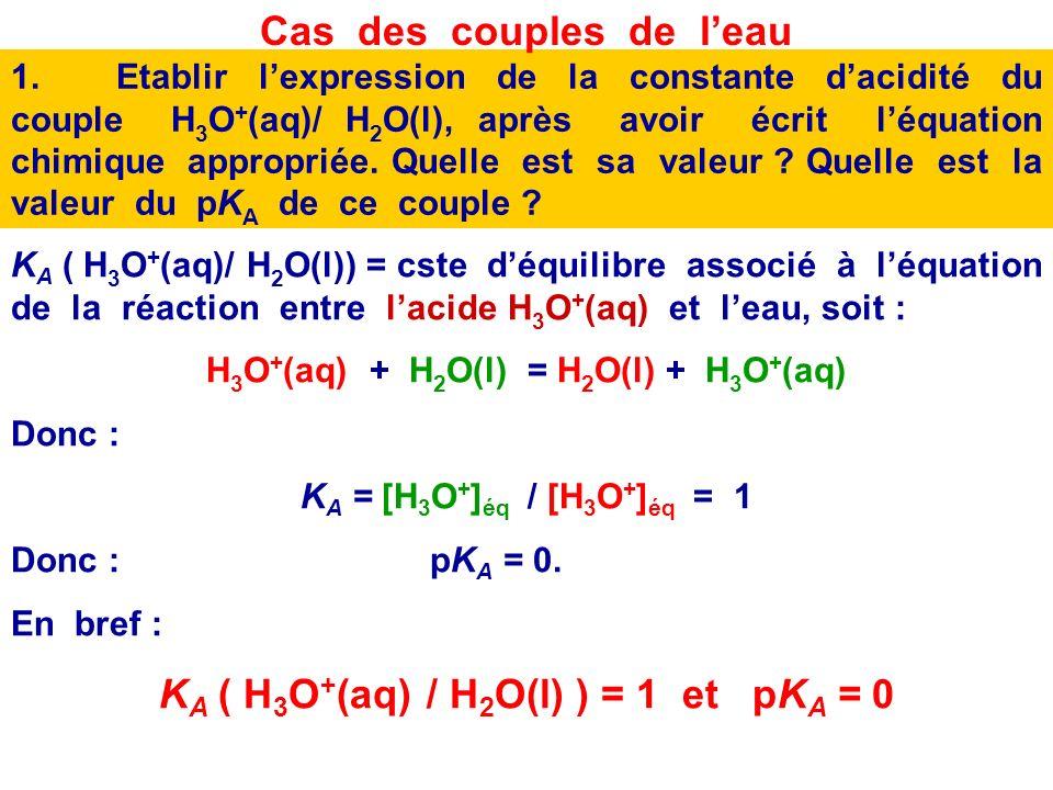 Cas des couples de l'eau KA ( H3O+(aq) / H2O(l) ) = 1 et pKA = 0