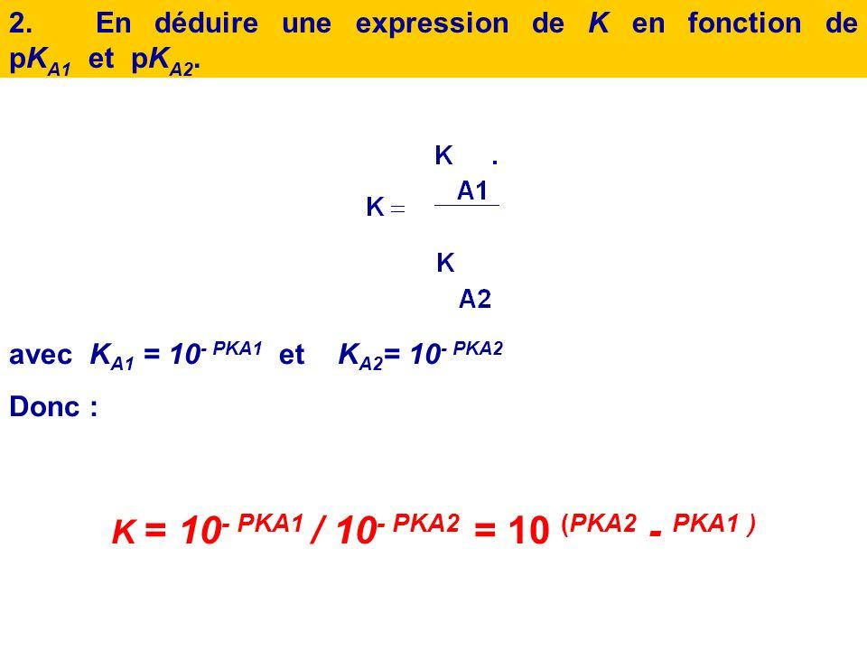 K = 10- PKA1 / 10- PKA2 = 10 (PKA2 - PKA1 )