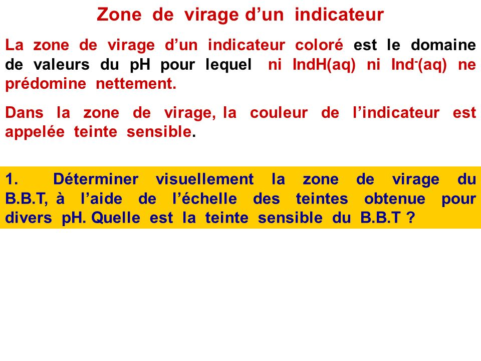 Zone de virage d'un indicateur
