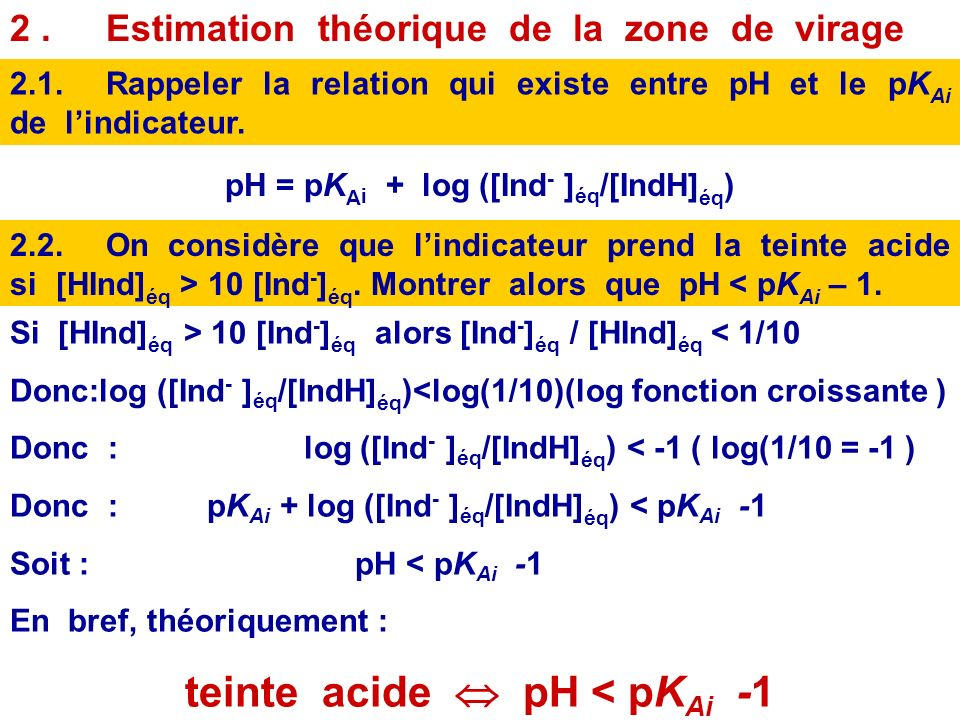 pH = pKAi + log ([Ind- ]éq/[IndH]éq) teinte acide  pH < pKAi -1