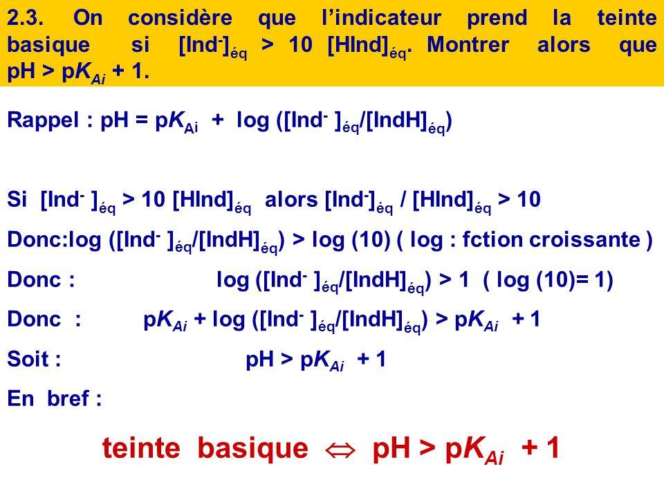 teinte basique  pH > pKAi + 1