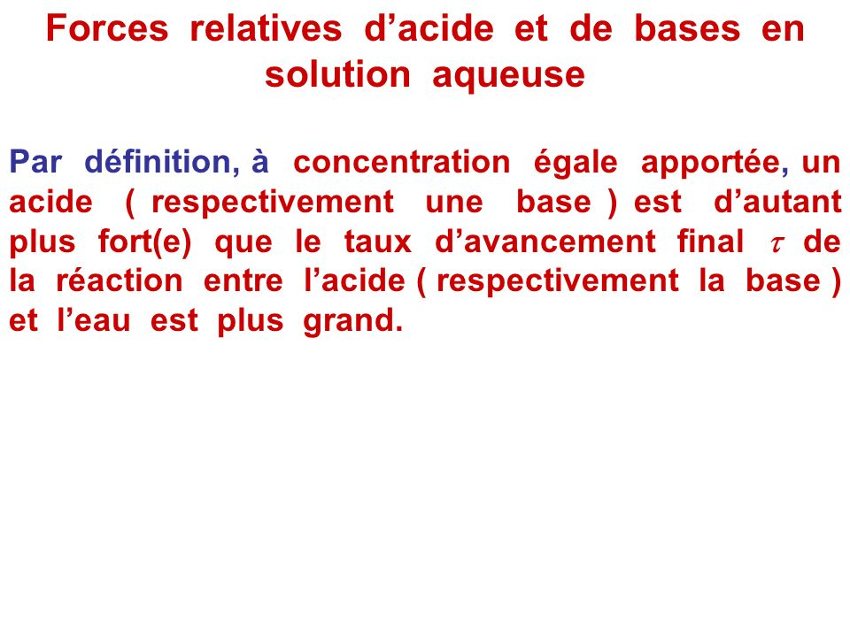 Forces relatives d'acide et de bases en solution aqueuse