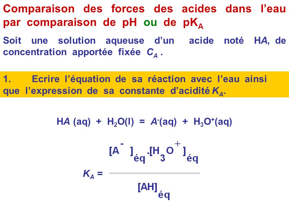 HA (aq) + H2O(l) = A-(aq) + H3O+(aq)