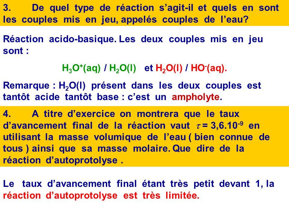 H3O+(aq) / H2O(l) et H2O(l) / HO-(aq).