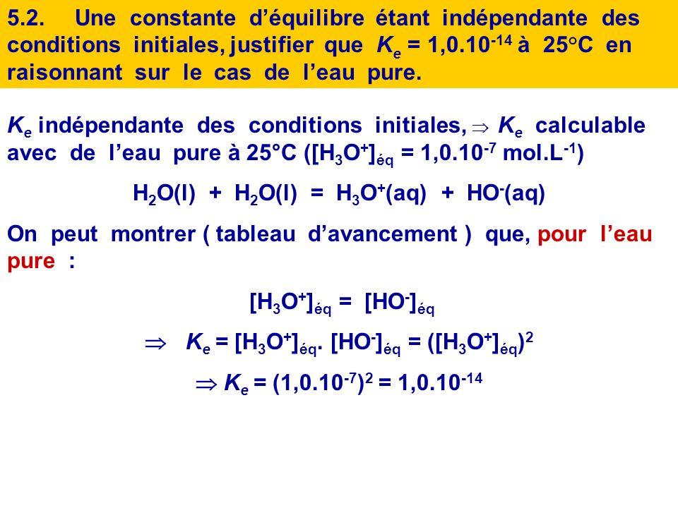 H2O(l) + H2O(l) = H3O+(aq) + HO-(aq)